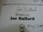 autograph of Joe Bullard author of Waiting for Agnes